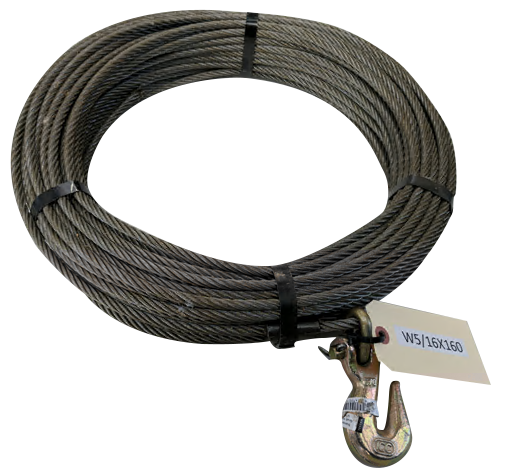 Steel winch cable, 6500 lbs, 5/16''x 100 ft